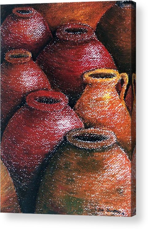 Earthen Acrylic Print featuring the painting Earthen Vessels Iv by Jun Jamosmos