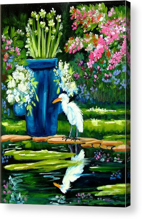 Florida Edison Estate Egret Tropical Pool Water Flowers Vase Lily Pads Animals Vases Blue Prints Birds Wading Birds Egrets Flowers Pink Blue Lavendar Water Pool Acrylic Print featuring the painting Egret Visits Goldfish Pond by Carol Allen Anfinsen