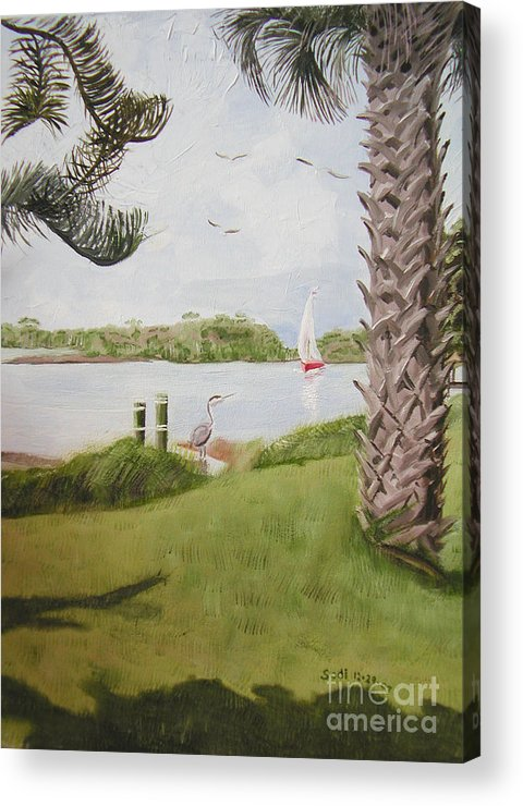 Landscape Acrylic Print featuring the painting Enjoy The Journey - Right Side by Sodi Griffin
