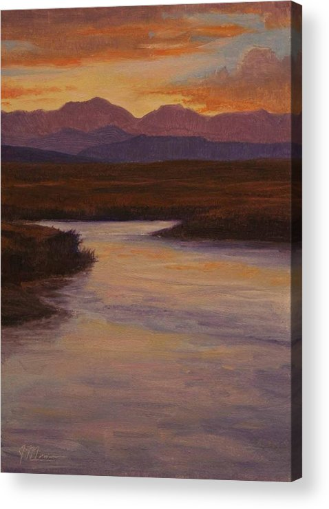 Landscape High Sierras Acrylic Print featuring the painting Evening Calm by Joe Mancuso
