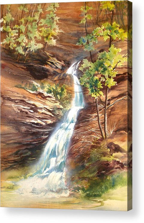 Water Falls;rocks;trees;hocking Hills;watercolor Painting; Acrylic Print featuring the painting Falls At Hocking Hills by Lois Mountz