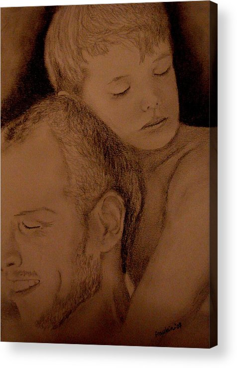 Portrait Acrylic Print featuring the painting Father And Son by Glory Fraulein Wolfe