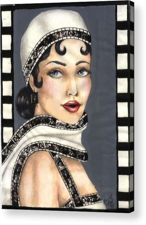 Portrait Acrylic Print featuring the drawing Film 2 by Scarlett Royal