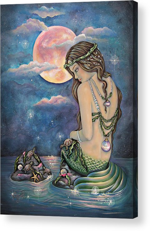 Mermaid Acrylic Print featuring the painting Fiona by Christine Bowman