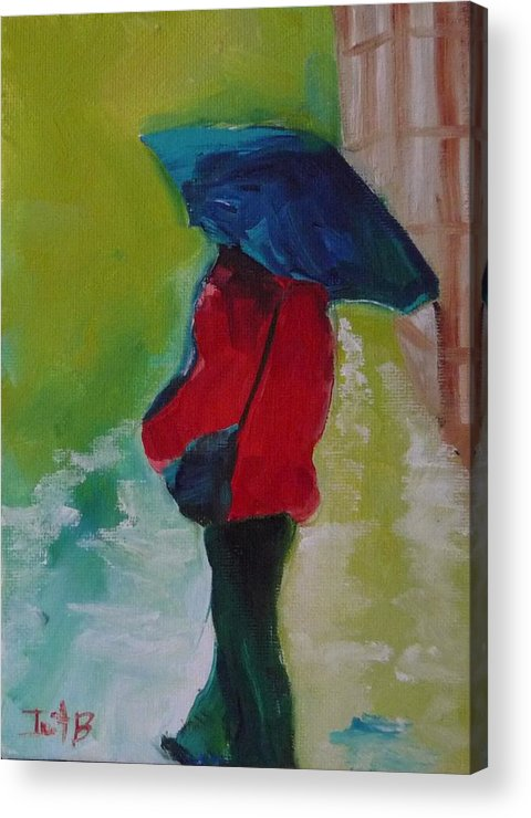 Figurative Acrylic Print featuring the painting First Rain by Irit Bourla