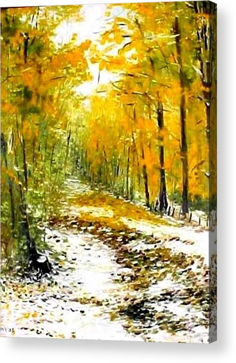 Landscape Acrylic Print featuring the painting First Snow by Boris Garibyan
