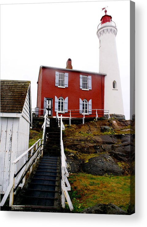 Architecture Acrylic Print featuring the photograph Fisgard Lighthouse by Sonja Anderson