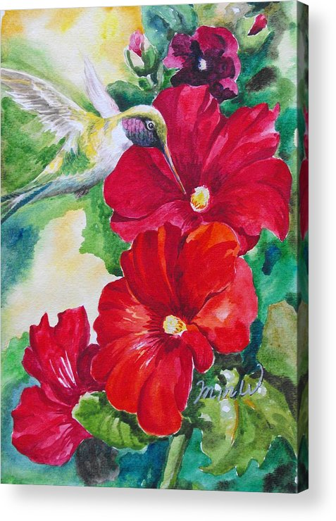 Floral Acrylic Print featuring the painting Floral Series 5 by Min Wang