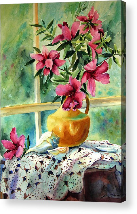 Original Watercolors Acrylic Print featuring the painting Flowers Shells And Lace by Julianne Felton