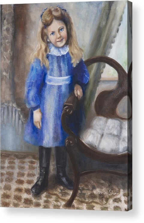 Portrait Acrylic Print featuring the painting Girl In Blue by Victoria Shea