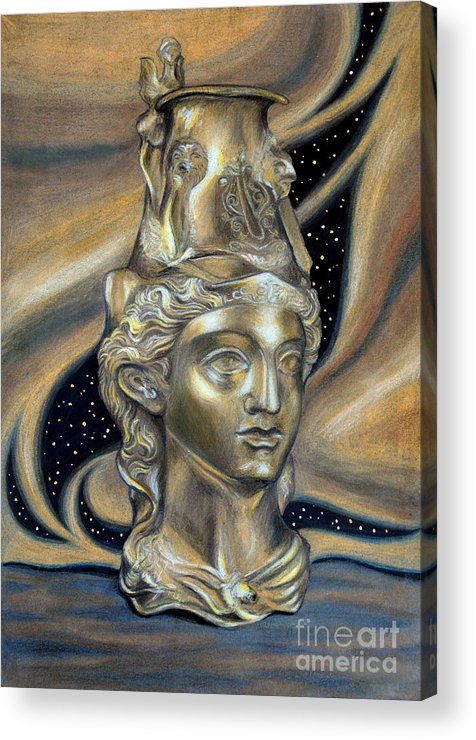 Gold Thracian Rhyton Ancient Bulgaria Amazon Acrylic Print featuring the painting Gold Rhyton From Bulgaria by Stoyanka Ivanova