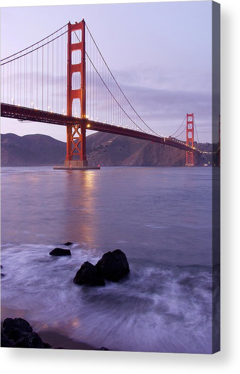 Golden Gate Acrylic Print featuring the photograph Golden Gate Bridge At Dusk by Mathew Lodge