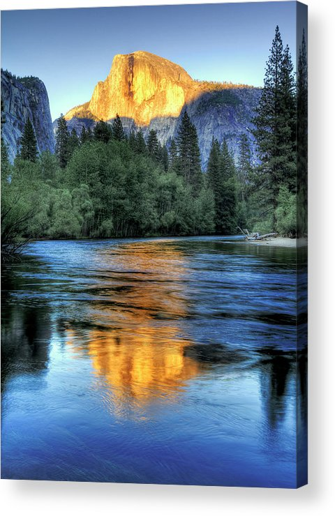 Vertical Acrylic Print featuring the photograph Golden Light On Half Dome by Mimi Ditchie Photography