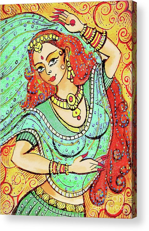 Indian Dancer Acrylic Print featuring the painting Green Devi by Eva Campbell