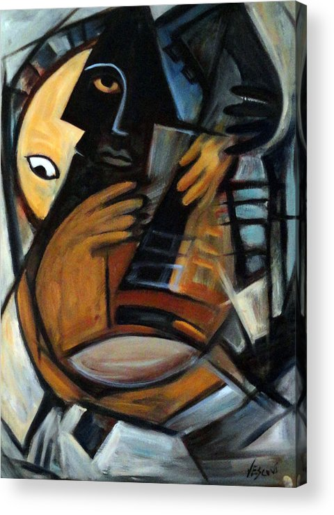 Cubism Acrylic Print featuring the painting Guitarist by Valerie Vescovi