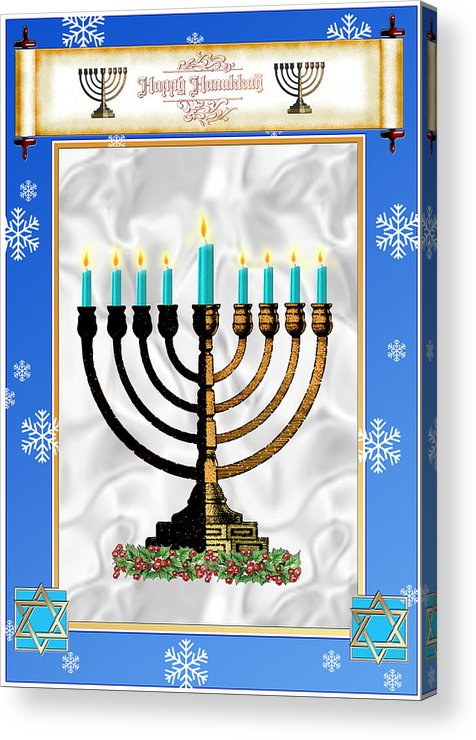 Hanukkah Acrylic Print featuring the digital art Happy Hanukkah by Melissa A Benson