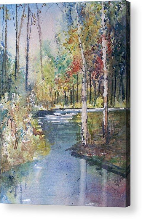 Ryan Radke Acrylic Print featuring the painting Hartman Creek Birches by Ryan Radke