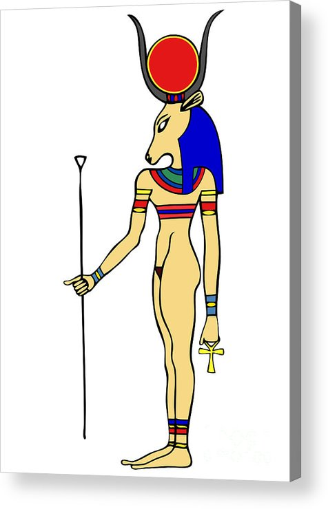 Relief Acrylic Print featuring the drawing Hathor by Michal Boubin
