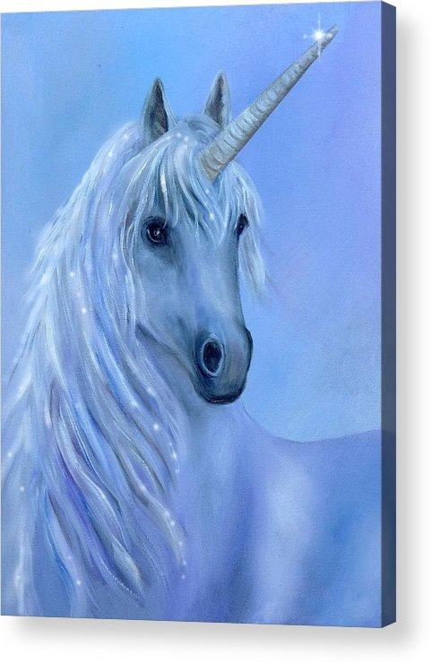Unicorn Acrylic Print featuring the painting Healing Unicorn by Sundara Fawn