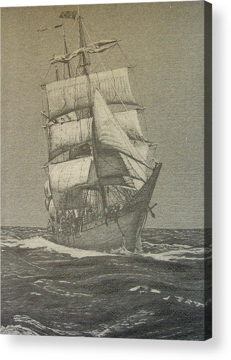 Sailboat Acrylic Print featuring the drawing High Seas by Dan Hausel