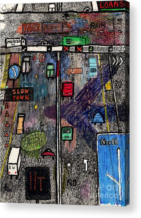 Highway Acrylic Print featuring the drawing Highway by Andy Mercer