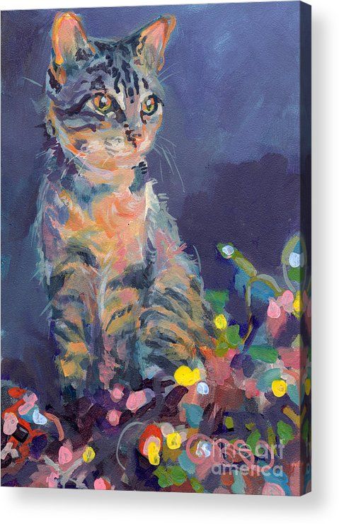 Gray Tabby Acrylic Print featuring the painting Holiday Lights by Kimberly Santini