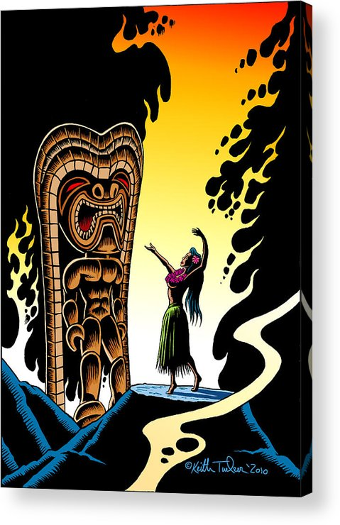 Tiki Acrylic Print featuring the drawing Homage To Tiki by Keith Tucker