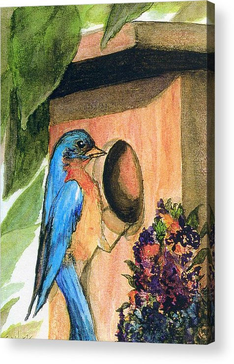 Bluebirds Acrylic Print featuring the painting Home Sweet Home by Gail Kirtz
