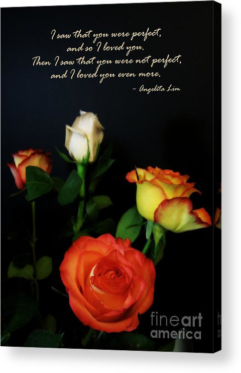 I Acrylic Print featuring the photograph I Saw That You Were Perfect by Renee Trenholm