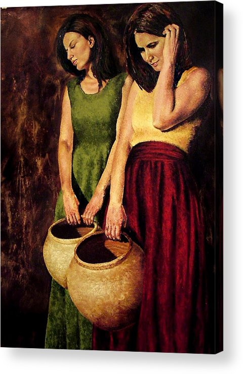 Women Acrylic Print featuring the painting In Waiting by Claudia Lardizabal
