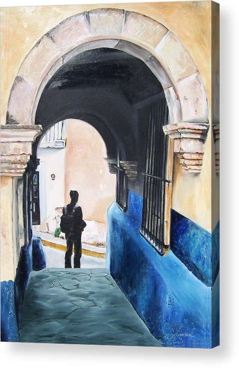 Archway Acrylic Print featuring the painting Ivan In The Street by Laura Pierre-Louis