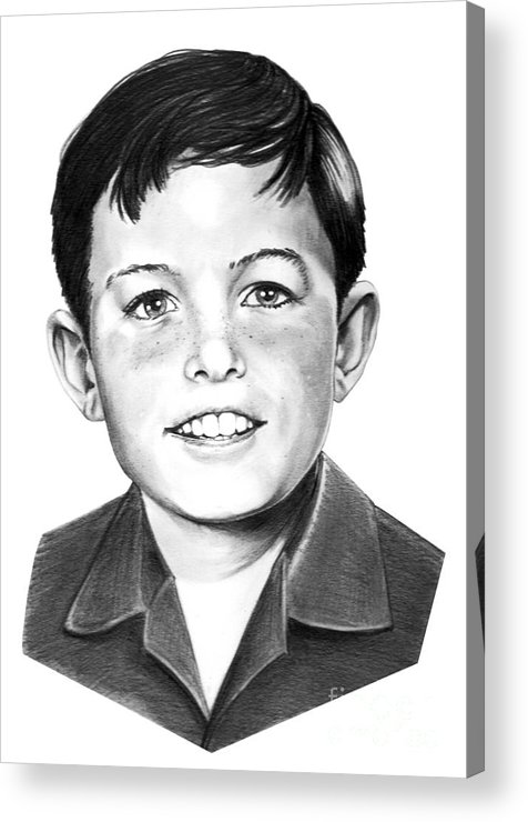 Portrait Acrylic Print featuring the drawing Jerry Mathers-as The Beaver-murphy Elliott by Murphy Elliott