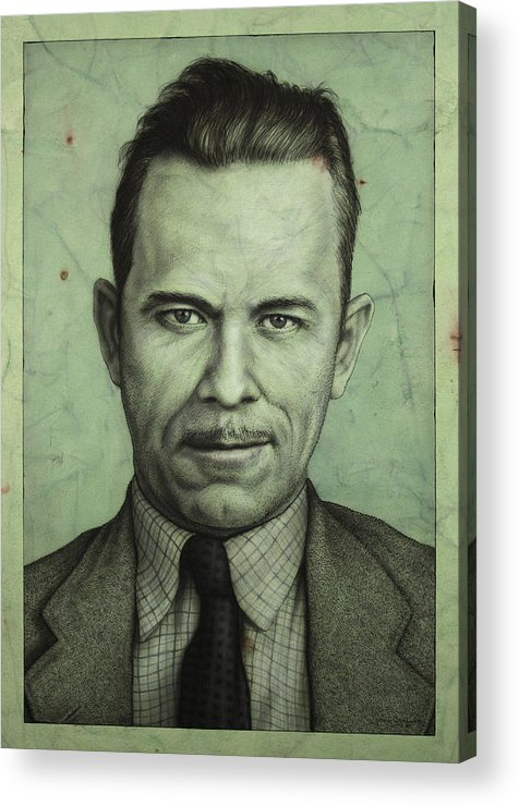 John Dillinger Acrylic Print featuring the painting John Dillinger by James W Johnson