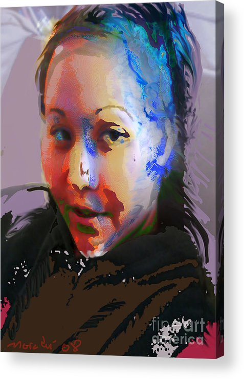 Portrait Acrylic Print featuring the mixed media Kime by Noredin Morgan