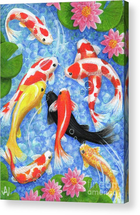 Koi Acrylic Print featuring the painting Koi Fish by Julia Underwood