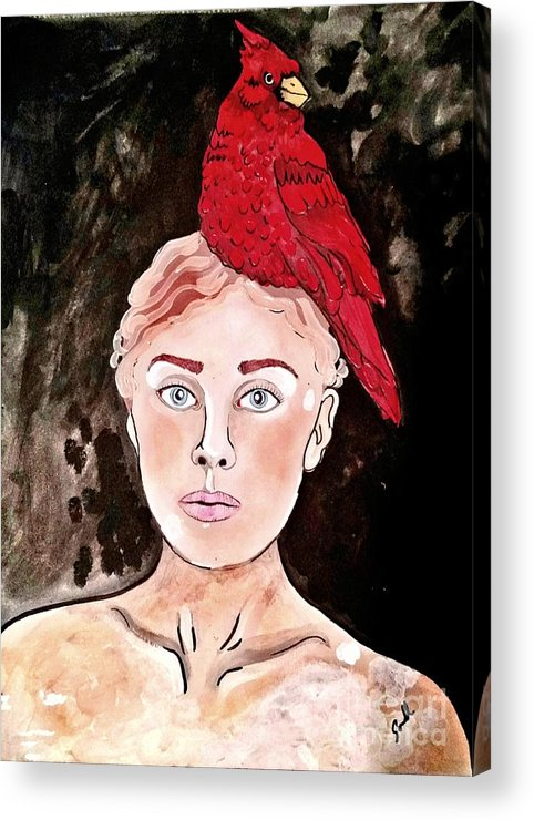 Bird Acrylic Print featuring the painting Lady Cardinal by Amy Sorrell