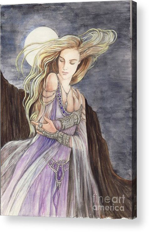 Lady Acrylic Print featuring the painting Lady Of The Moon by Morgan Fitzsimons