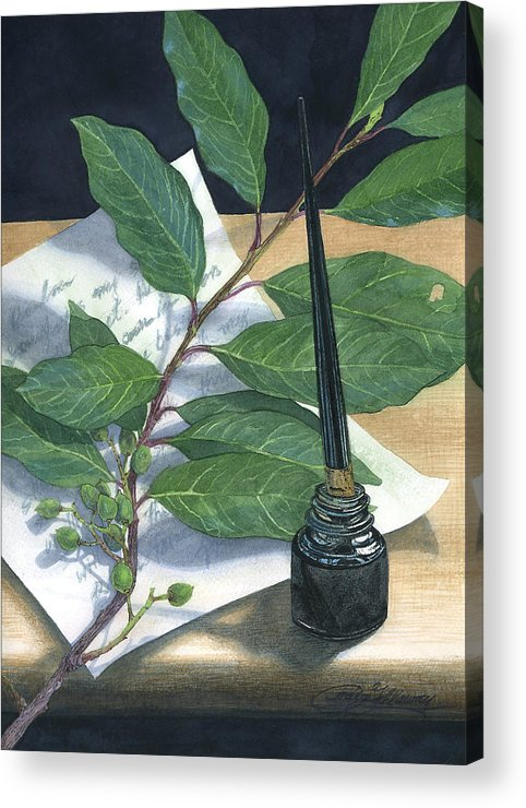 Leaves Acrylic Print featuring the painting Laurel by Craig Gallaway