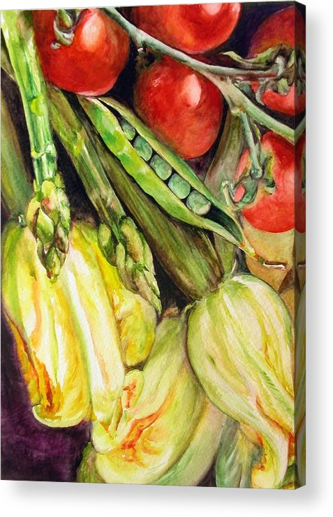 Still Life Acrylic Print featuring the painting Legumes by Muriel Dolemieux