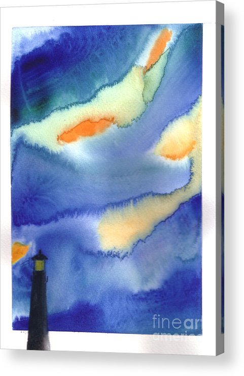 A Lighthouse In A Beautiful Stormy Night. This Is A Contemporary Watercolor Painting. Acrylic Print featuring the painting Lighthouse by Mui-Joo Wee