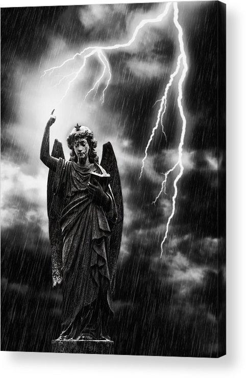 Religion Acrylic Print featuring the photograph Lightning Strikes The Angel Gabriel by Amanda Elwell