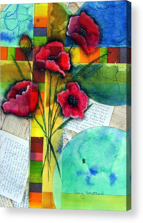 Poppies Abstract Red Collage Papers Acrylic Watercolor Acrylic Print featuring the painting Love Letters by Terry Honstead