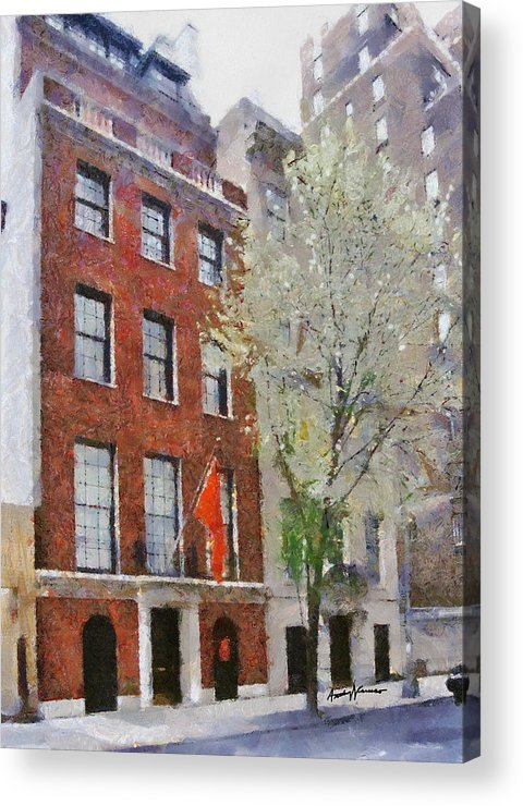 Cityscape Acrylic Print featuring the painting Lubin House by Anthony Caruso