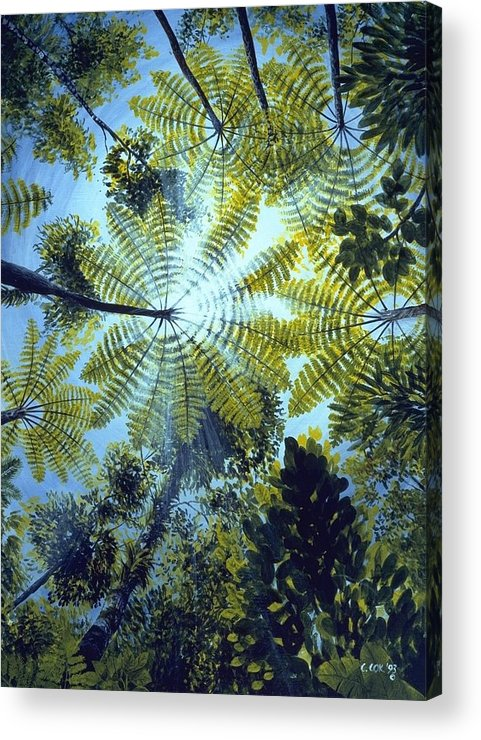 Chris Cox Acrylic Print featuring the painting Majestic Treeferns by Christopher Cox