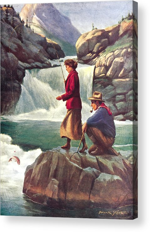 Phillip Goodwin Acrylic Print featuring the painting Man And Woman Fishing by JQ Licensing
