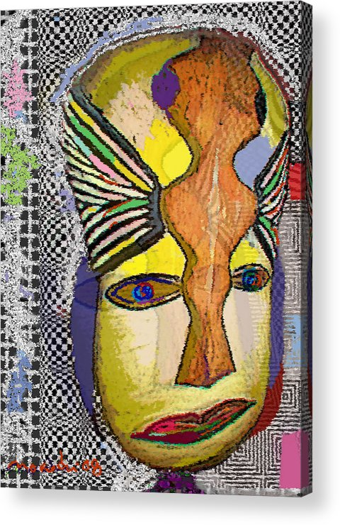 Drawing Acrylic Print featuring the drawing Mask 13 by Noredin Morgan