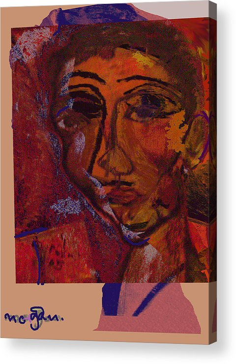 Portrait Acrylic Print featuring the painting Mask 14 by Noredin Morgan