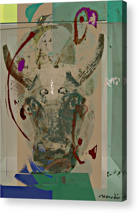 Abstraction Acrylic Print featuring the mixed media Mask 21 by Noredin Morgan