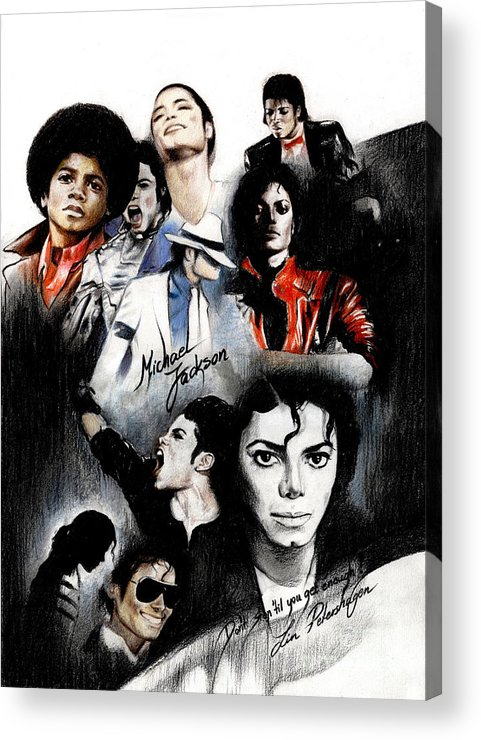 Lin Petershagen Acrylic Print featuring the drawing Michael Jackson - King Of Pop by Lin Petershagen