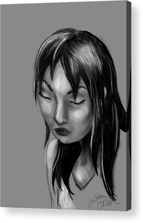 Girl Acrylic Print featuring the digital art Moment Of Weakness by Siobhan Yost